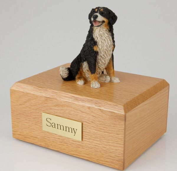 Bernese Mountain Dog Pet Funeral Cremation Urn Avail in 3 Diff Colors