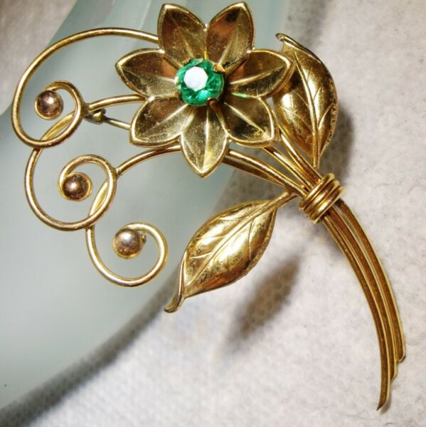 1940's HARRY ISKIN 120 12K GF FLORAL SPRAY BROOCH Pin