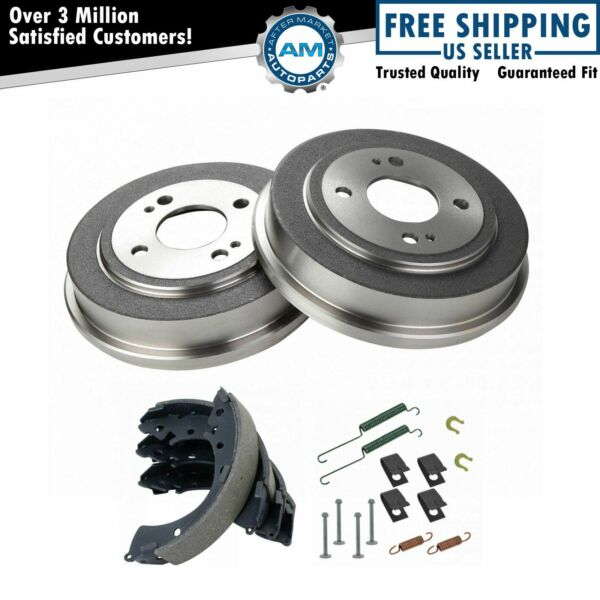 Rear Brake Shoes 2 Drums & Hardware Spring Kit Set for Honda Civic Fit