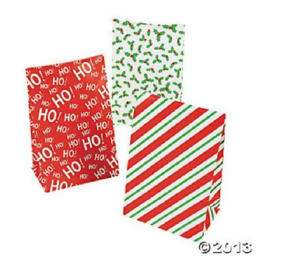 12 CHRISTMAS Holiday Party Favor Treat PAPER MINI BAGS SACKS