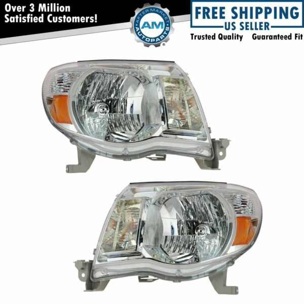 Headlights Headlamps Left & Right Pair Set for 05-11 Toyota Tacoma Pickup Truck