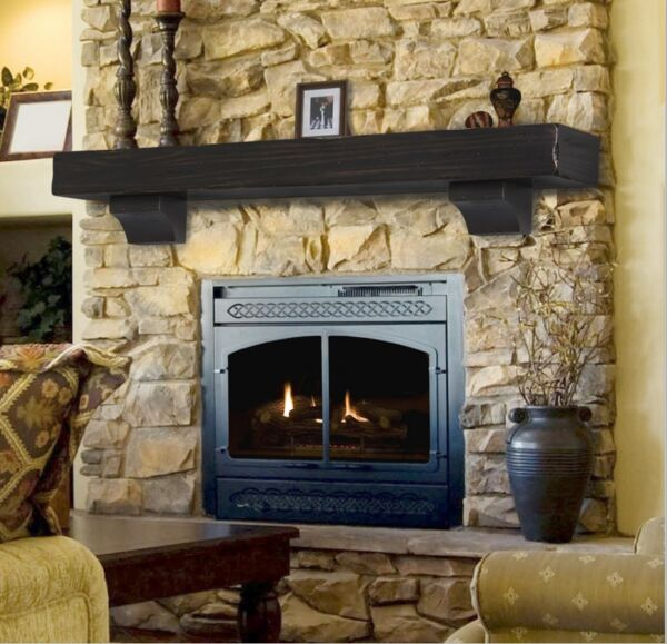 Pearl Mantel Shenandoah rustic fireplace mantel shelf. Pick size finish