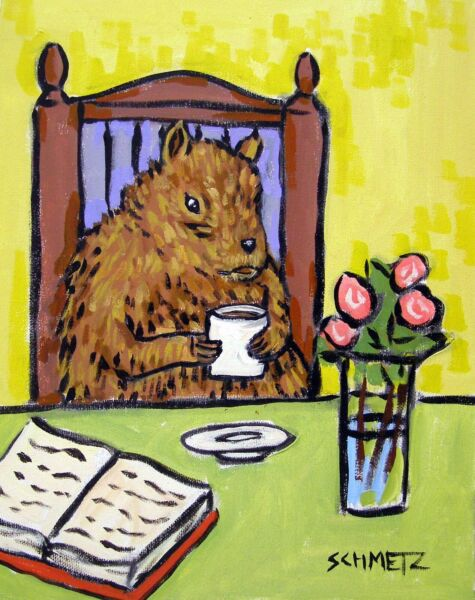 Chipmunk Coffee 4x6 glossy  art PRINT impressionism artist animals gift