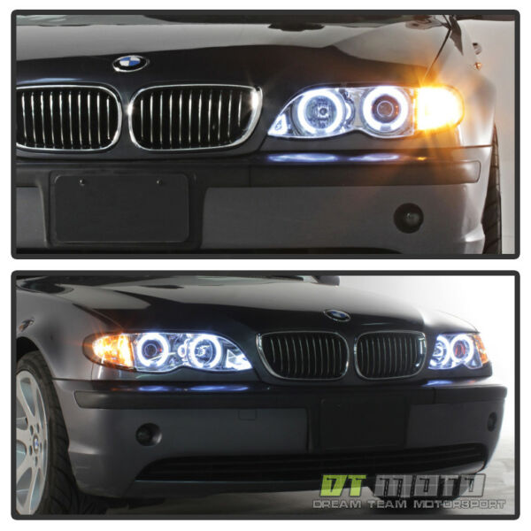 2002 2003 2004 2005 BMW E46 4DR Sedan Halo Projector Headlights w/ Corner Lamps