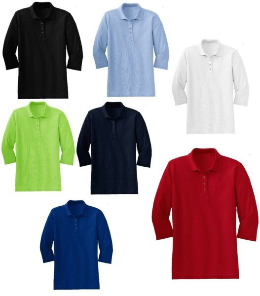 WOMEN'S CLASSIC, 3/4 SLEEVE, 4 BUTTON PLACKET, COTTON BLEND, POLO SHIRT, XS-4XL