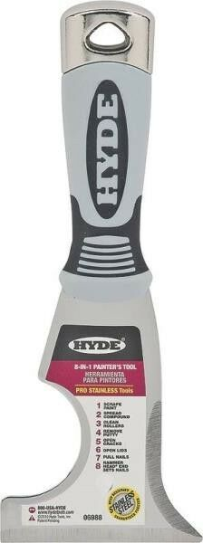 NEW HYDE TOOLS 06988 STAINLESS STEEL 8 IN 1 PAINTERS TOOL SCRAPER 6816052