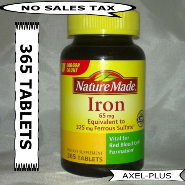 Nature Made Iron 65 mg - 365 Tablets Dietary Supplement  EXP 04/2020 NEW !