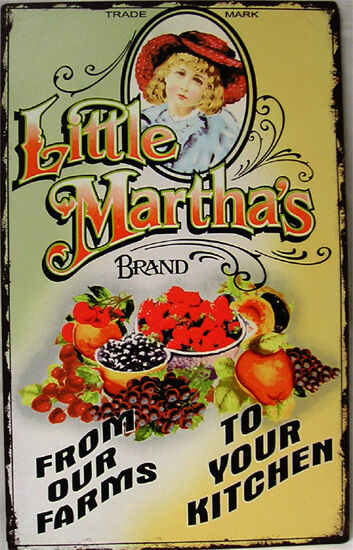 RusticVintage Litle Martha's Brand Produce Advertisement Metal Sign