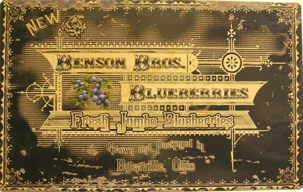 RusticVintage Benson Bros. Blueberries Produce Fruit Advertisement Metal Sign