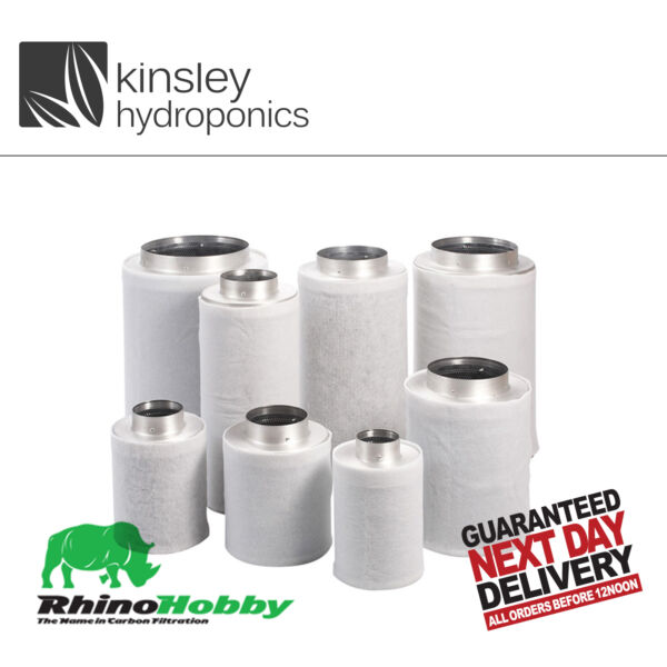 Rhino Hobby Filter 4quot; 100 x 300 Carbon 350m3 Hr Odour Control Hydroponics GBP 34.99
