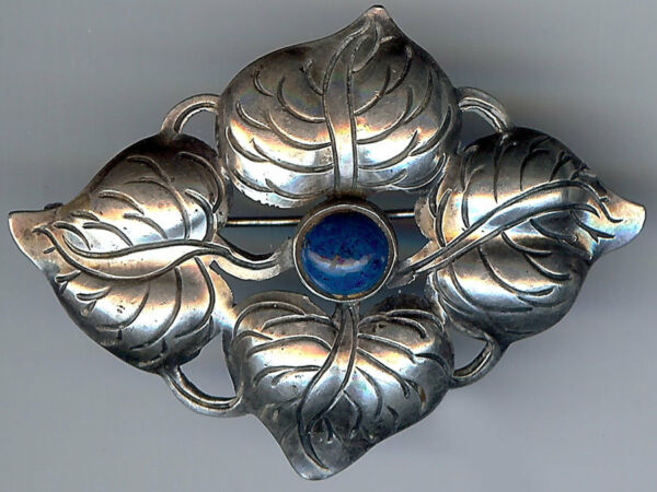 *KALO HAND WROUGHT VINTAGE STERLING SILVER LEAVES amp; BLUE LAPIS LIKE STONE PIN*