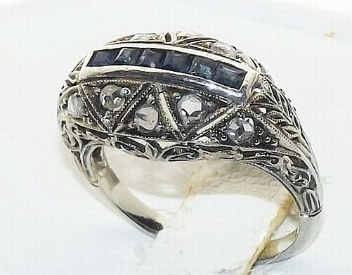 Antique 18K White Gold Diamond Sapphire Art Nouveau Deco Filigree Ring C.1910-20