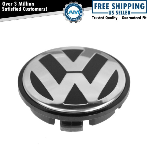 OEM Chrome & Black 65mm Center Cap for Volkswagen VW Golf Jetta Passat