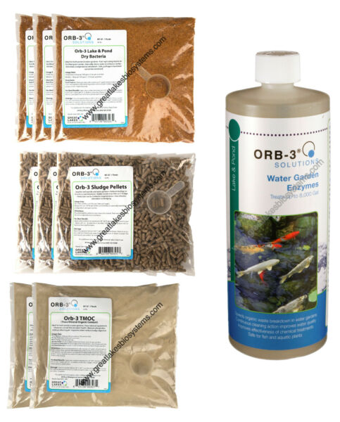 Orb-3 Pond Startup Kit-Bacteria Enzymes Trace Minerals Sludge Muck Pellets