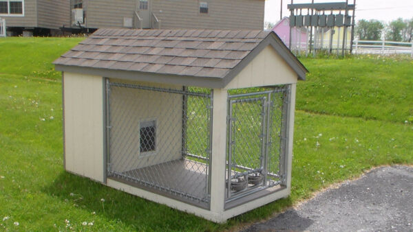 Dog House-Kennel with Run and Fence- Poly Floor for easy cleaning- Amish Made