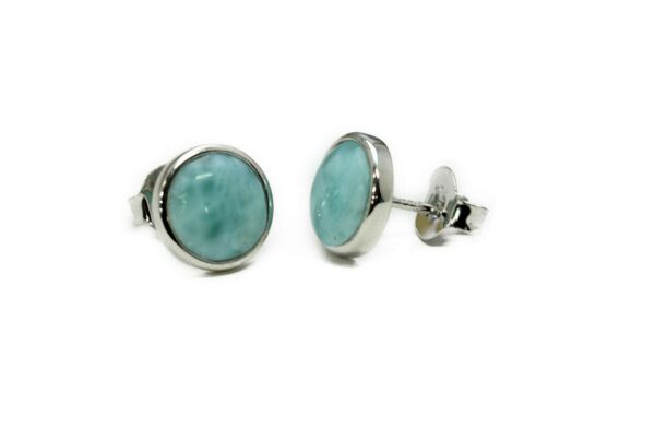 Natural Ocean Blue Dominican 8mm Larimar Cab  925 Sterling Silver Earrings