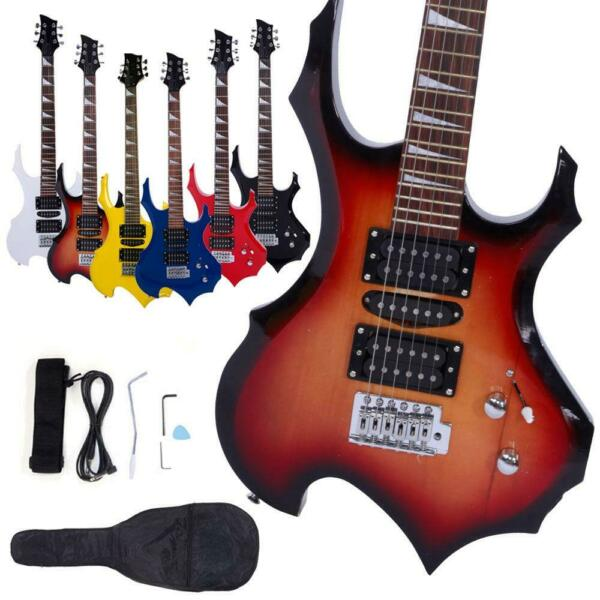 New 6 Colors Flame Type Beginner Electric Guitar Bag Case Cable Strap Picks