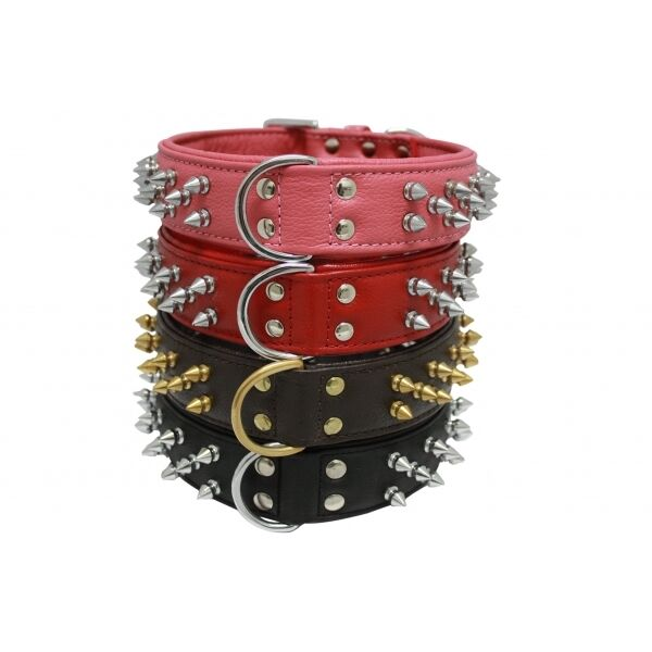 Angel Genuine Leather Spiked Dog Collar Neck Size 8.5quot; 26quot; XS S M L XL $55.95