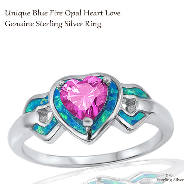 Heart Love Pink Sapphire CZ Wedding Engagement Blue Opal Sterling Silver Ring