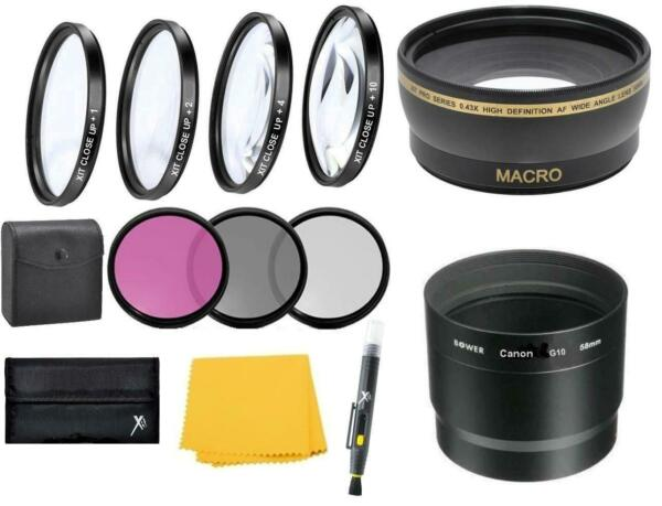 Wide angle Telephoto Filters Lens Kit for Canon PowerShot G16 G15 Digital Camera