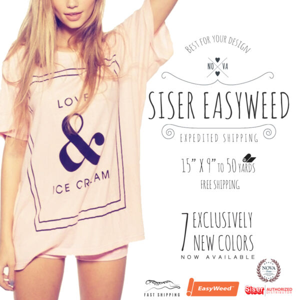 Siser Easyweed IRON ON Heat Transfer Vinyl 15quot; x 9quot; 12quot; 1351025 and 50 Yd $22.49