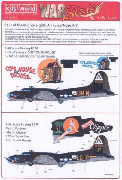 Kits World Decals 1 48 B 17 FLYING FORTRESS Outhouse Mouse amp; Miami Clipper $9.99