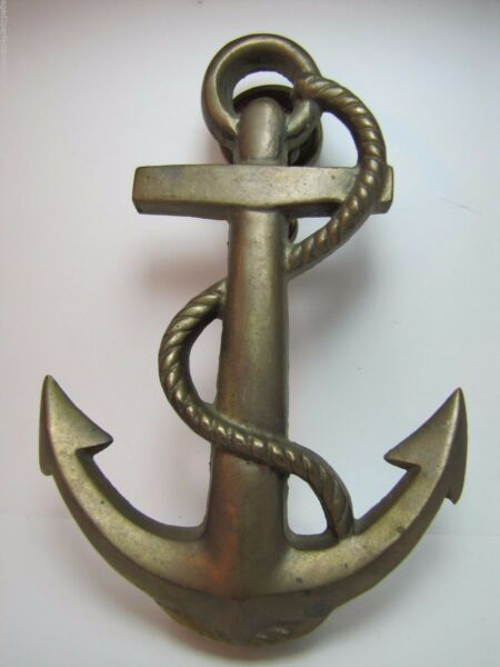 Vintage Brass Anchor Nautical Door Knocker nicely detailed patina arch hardware