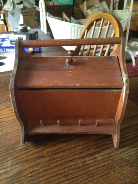 Vintage Wooden Sewing Caddy Box