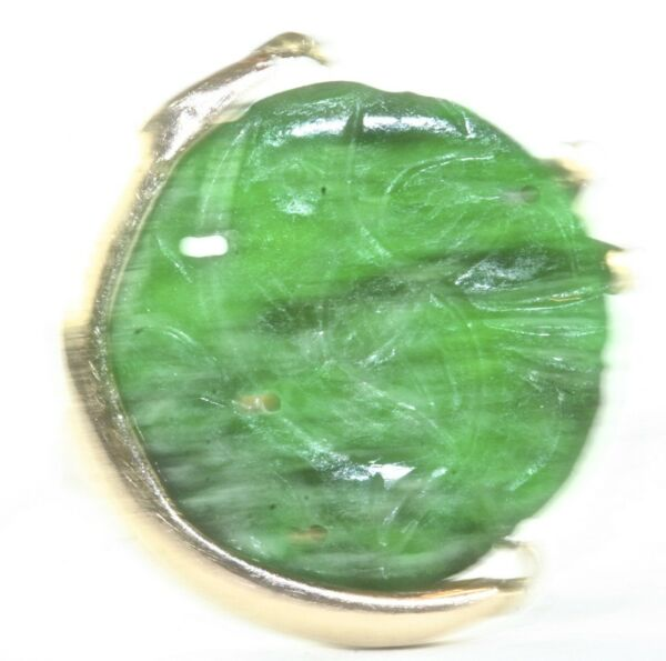 VINTAGE 14K GLD GOLD RING WITH ANTIQUE CARVED CHINESE JADE BUTTON