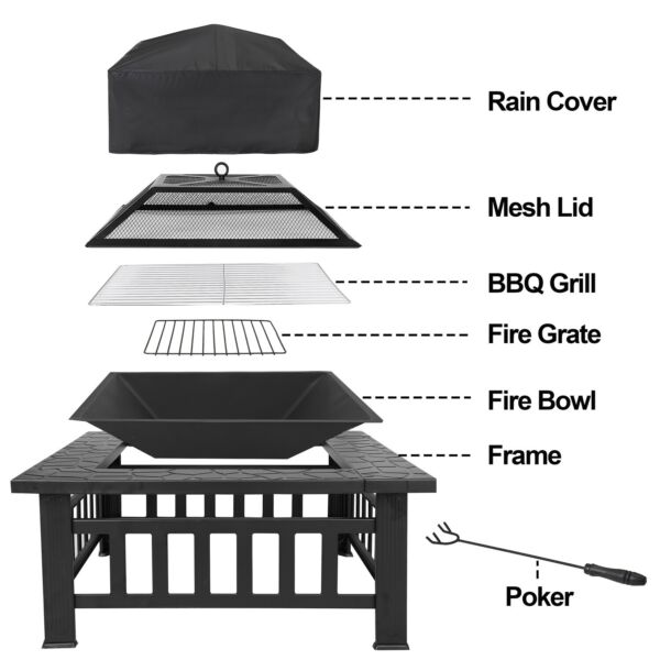 Outdoor 32quot; Metal Firepit Backyard Patio Garden Square Stove Fire Pit With Cover
