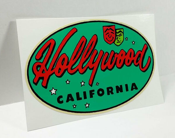 Hollywood California Vintage Style Travel Decal  Vinyl Sticker Luggage Label