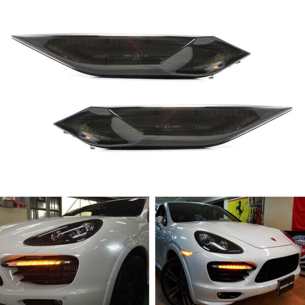 Smoked Lens Amber White Switchback LED Side Markers For 11 14 Porsche Cayenne