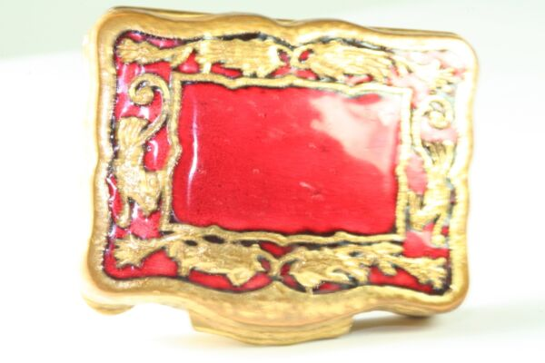 VINTAGE ANTIQUE BRASS AND RED ENAMEL LARGER PILL OR SNUFF BOX