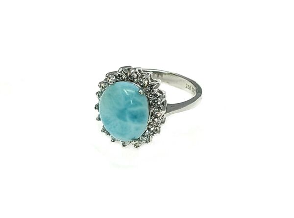 Larimar Genuine 100% Natural Blue 10X12mm Oval 925 Sterling Silver Ring Size 8