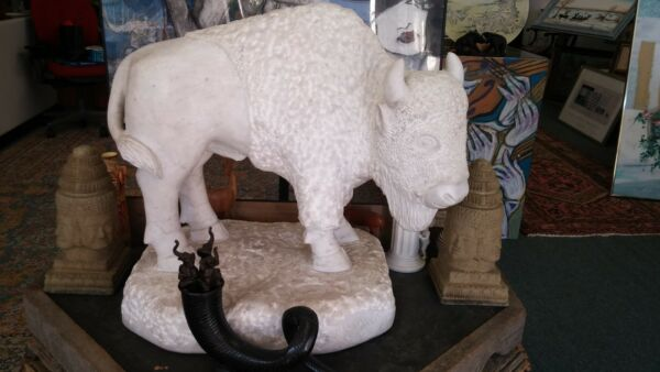 Large Carved Marble Buffalo Signed & Dated In Stone B C Davis 41991 One of Kind
