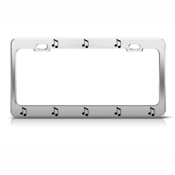 Metal License Plate Frame Musical Note Chome Metal Car Accessories Chrome