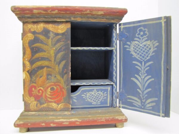 Old Small Hand Painted Wooden Two Door Box interior drawer shelves floral hearts