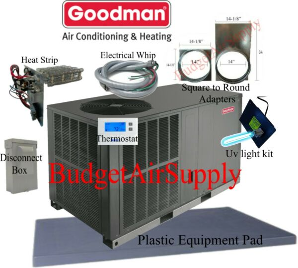 3 Ton 14 seer Goodman HEAT PUMPquot;All in Onequot;Package Unit GPH1436H41 INSTALL Kit $2670.00