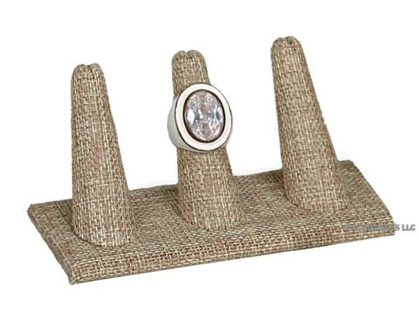 3 Finger Ring Display Stand Burlap Ring Display Tan Jewelry Ring Holder 2quot; Tall