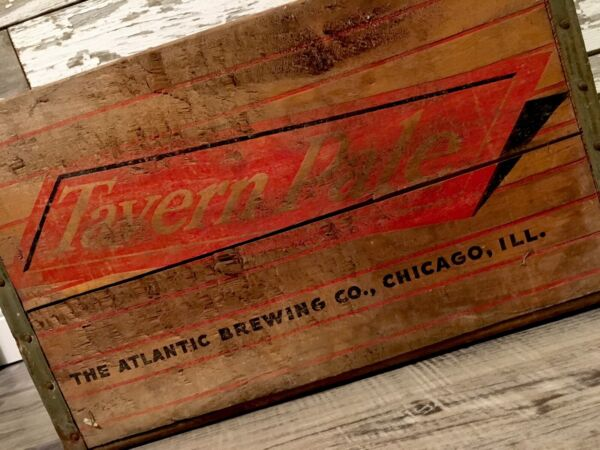 Rare Vintage 1946 Tavern Pale Beer Wood Crate Atlantic Brewing Co Chicago IL