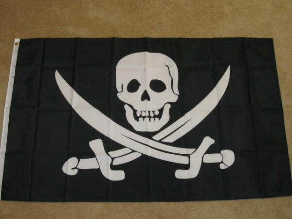 3X5 SKULL AND CROSS SWORDS FLAG PIRATE CALICO NEW F218 $6.95