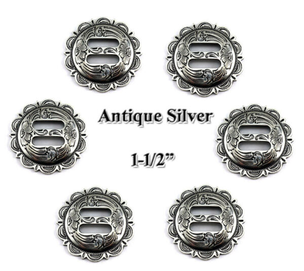 🕐LOT OF 6 CONCHOS ANTIQUE SILVER SLOTTED SCALLOPED WESTERN RODEO FA 4834 1-12