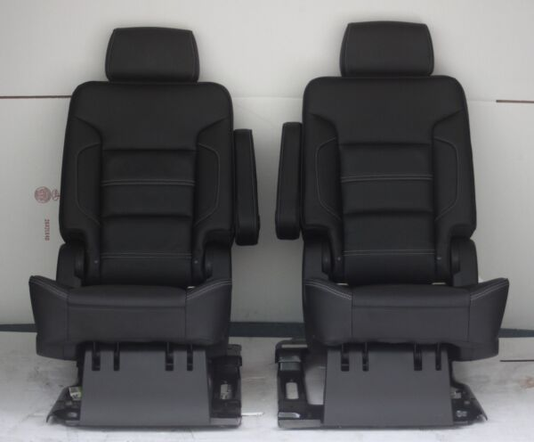 2016 2015 Yukon Denali 2nd Row Bucket Seats Black Leather Power Fold
