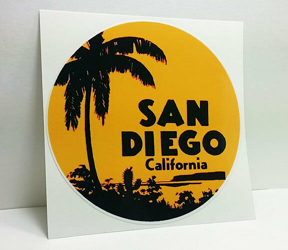 SAN DIEGO CALIFORNIA Vintage Style Travel Decal Vinyl Sticker Luggage Label 4