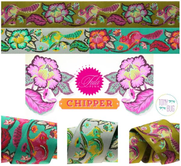 1.5 Inch Chipmunk Tula Pink Chipper Ribbon ~ Renaissance Ribbons Woven Jacquard