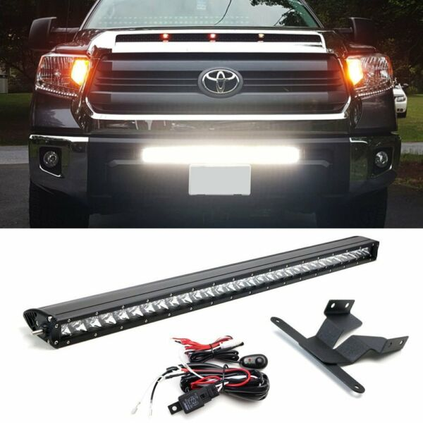 150W 30quot; LED Light Bar w Lower Bumper Brackets Wirings For 14 up Toyota Tundra