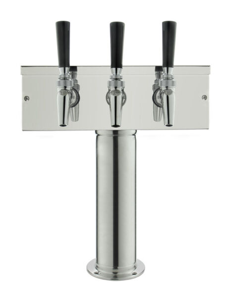 Kegco Polished Stainless Steel T Style Tower with 3 Perlick 630SS Faucets