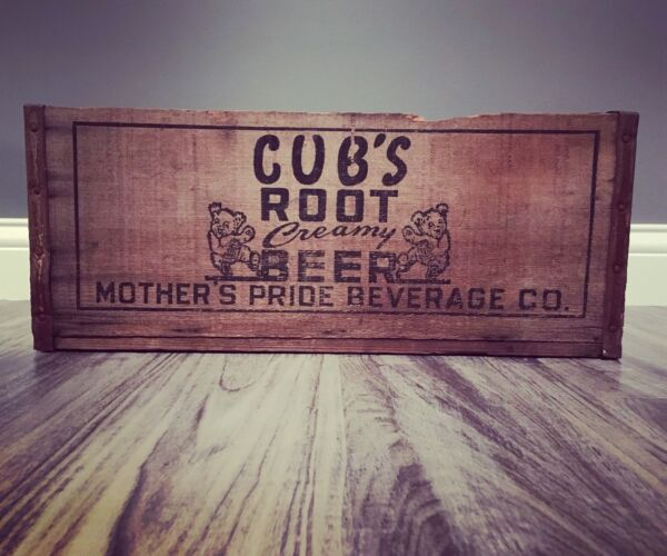 Very Rare Vintage Cubs Root Beer Mothers Pride Beverage Co Wood Soda Crate