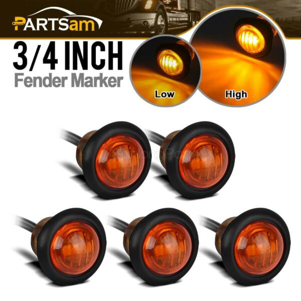 5pcs New Amber 3 4quot; Round Clearance Auxiliary Stop Tail Turn Light High amp; Low