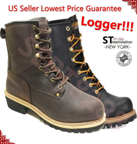 LM Men#x27;s Work Boots Rugged Pioneer Logger Boot Steel Toe Good Year Welt 5001ST